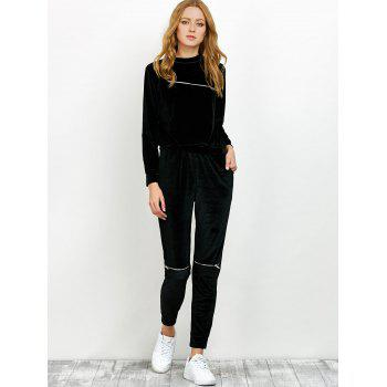 Velvet Sweatshirt and Pants with Zipper - L L
