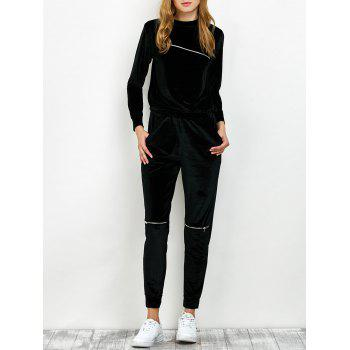 Velvet Sweatshirt and Pants with Zipper - BLACK S