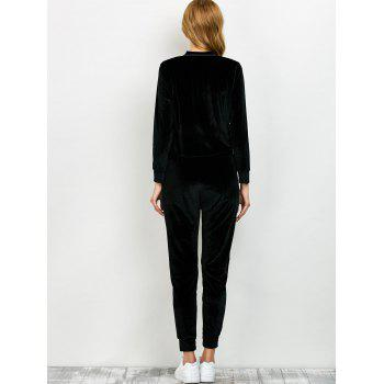 Velvet Sweatshirt and Pants with Zipper - S S