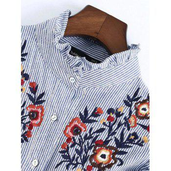 Striped Ruffled Embroidered Bib Shirt - BLUE/WHITE S