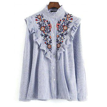 Striped Ruffled Embroidered Bib Shirt