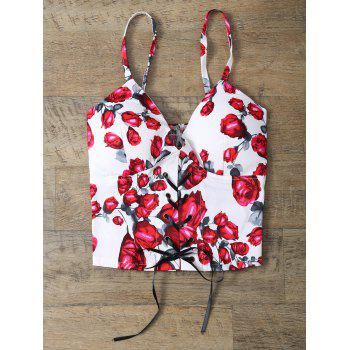 Rose Print Lace Up Padded Bralet Top