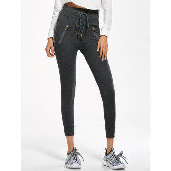 Zip Embellished Drawstring Jogger Pants