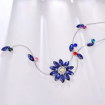 Floral Rhinestone Sweater Chain - BLUE