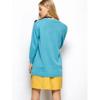 A Arrow Through Heart Tunic Sweater - LIGHT BLUE ONE SIZE