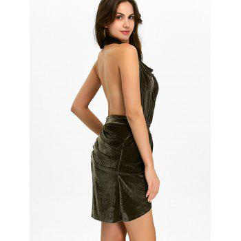 Halter Ruched Velour Mini Backless Bandage Dress - ARMY GREEN S