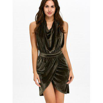 Halter Ruched Velour Mini Backless Bandage Dress - ARMY GREEN L