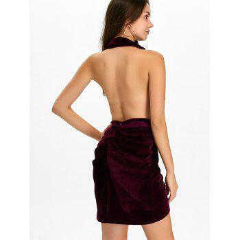 Halter Ruched Velour Mini Backless Bandage Dress - PURPLISH RED XL