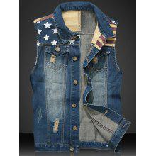 Stripe PU Leather Spliced Star Print Denim Waistcoat
