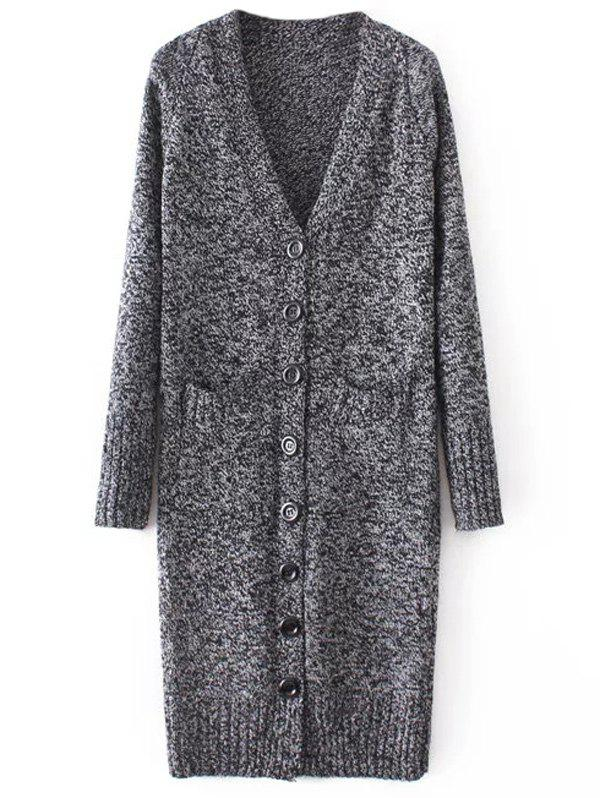V Neck Long Knitted Cardigan - DEEP GRAY ONE SIZE