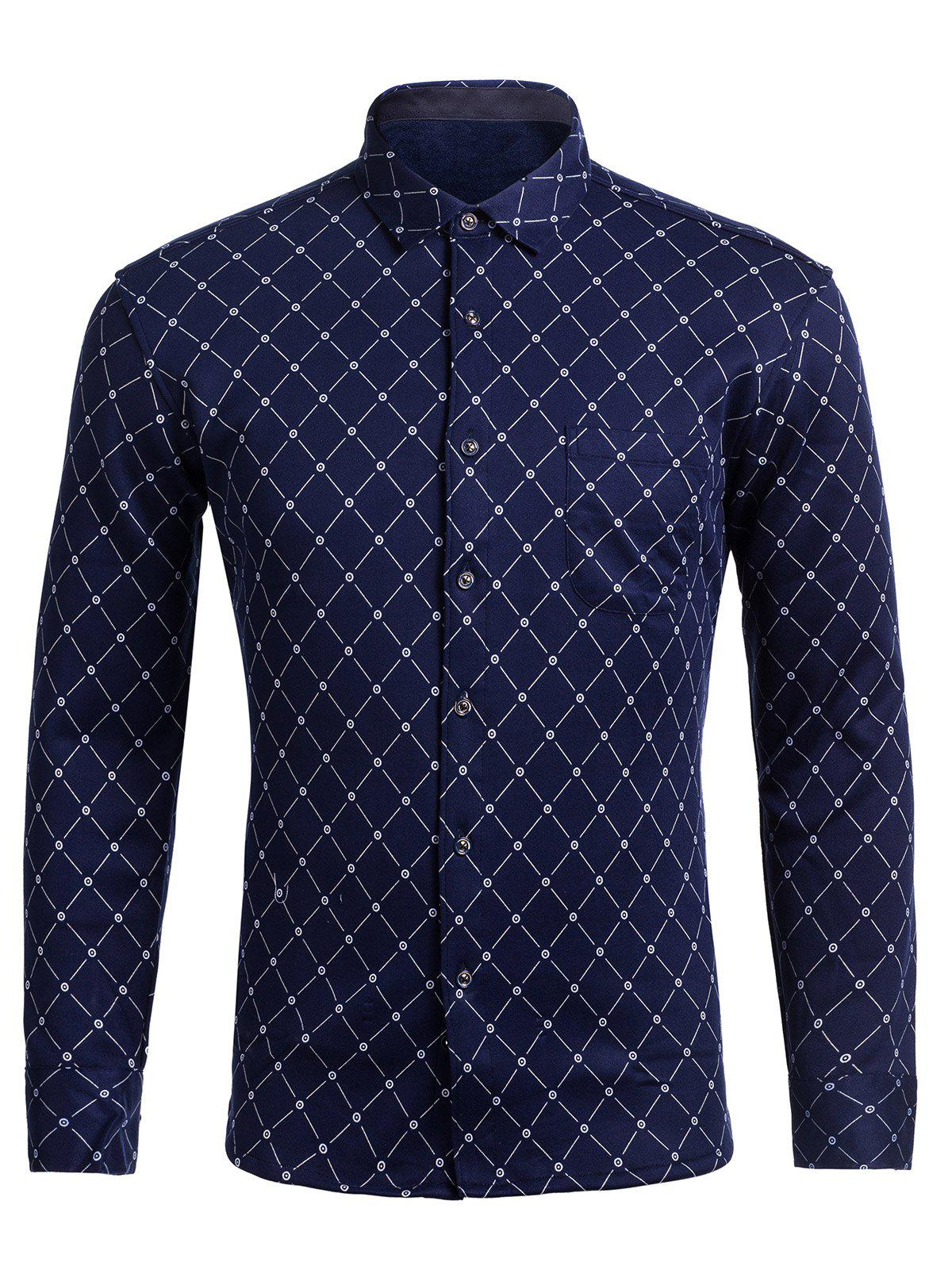 Turndown Collar Rhombus Pattern Pocket ShirtMen<br><br><br>Size: M<br>Color: PURPLISH BLUE