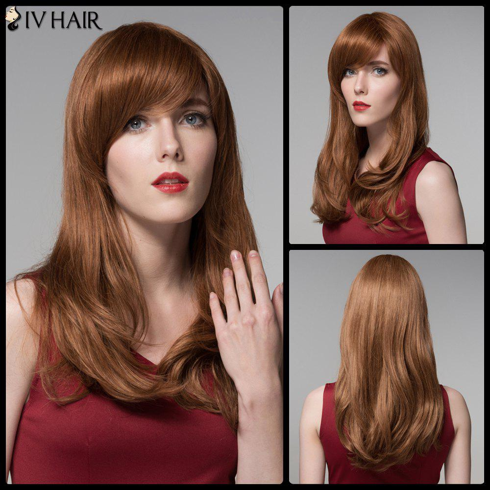 Natural Straight Side Bang Long Shaggy Siv Human Hair Wig trendy long layered side bang human hair shaggy natural straight siv hair wig for women