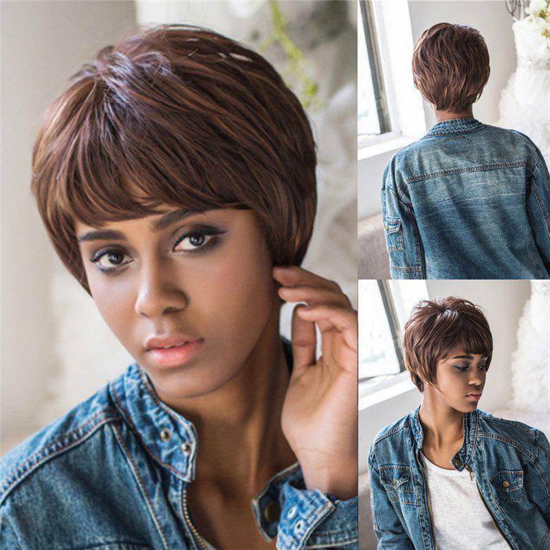 Fluffy Straight Short Layered Cut Black Brown Mixed Synthetic Wig - COLORMIX