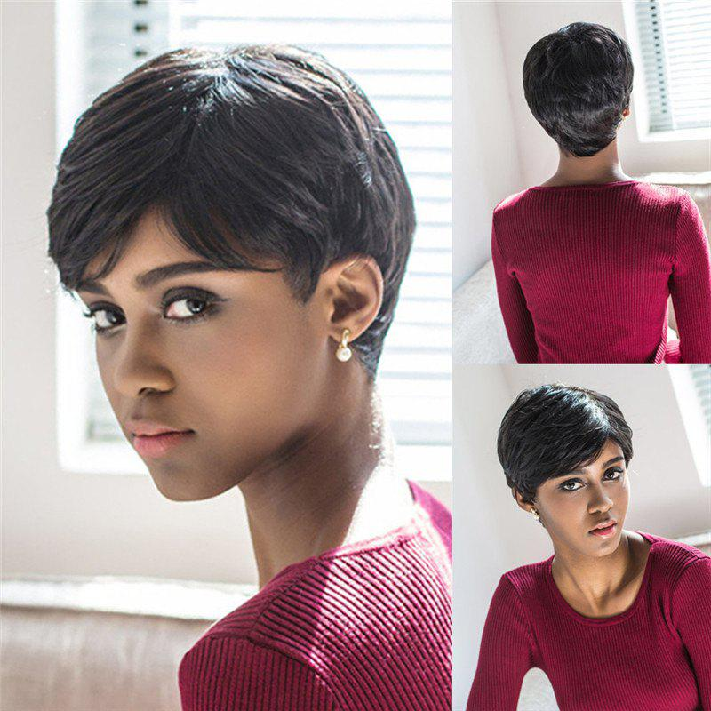 Spiffy Straight Layered Black Synthetic Short Pixie Cut Capless Wig For Women - BLACK