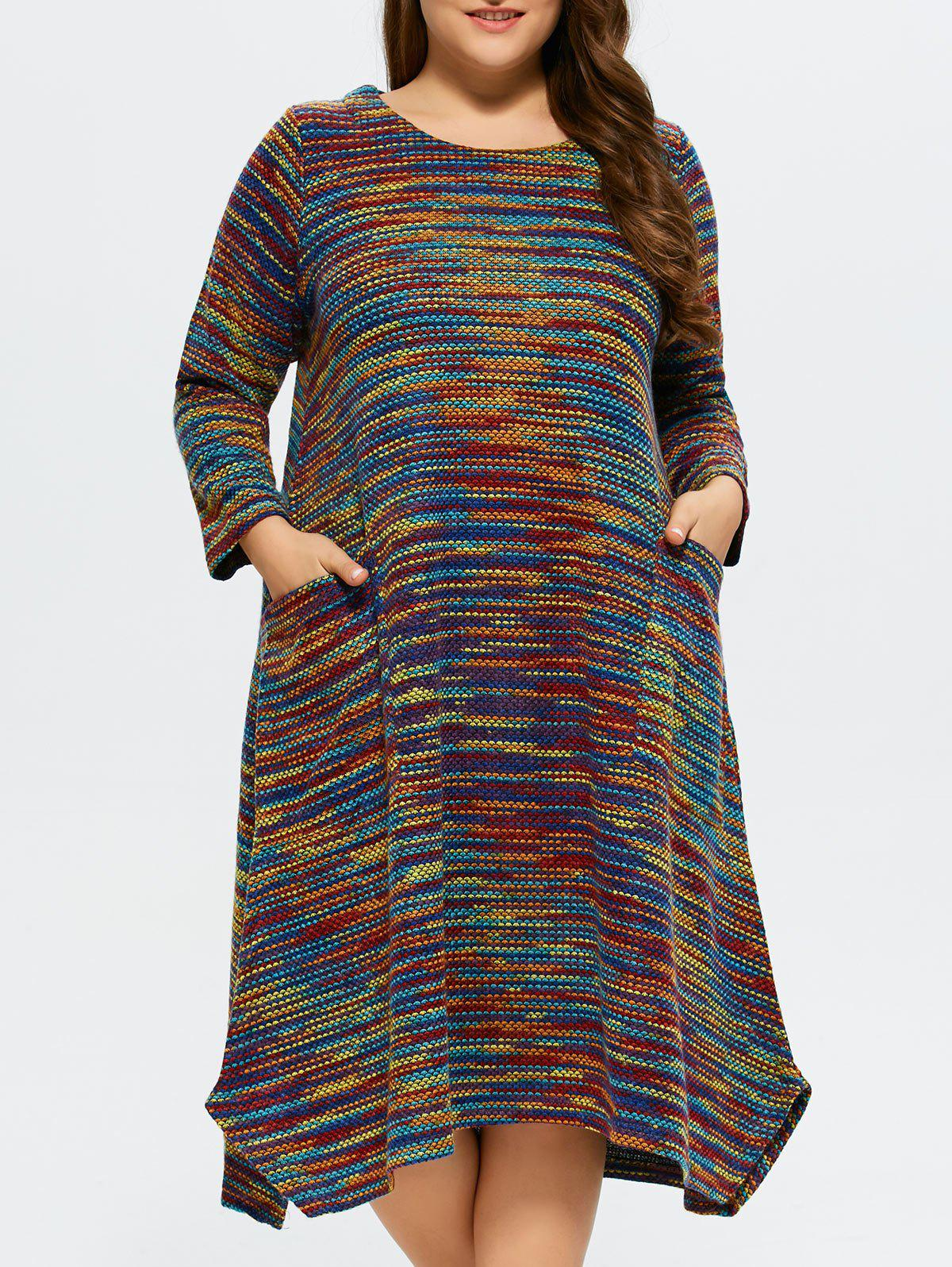 Plus Size Espace Dyed Sweater Dress - Bleu 3XL