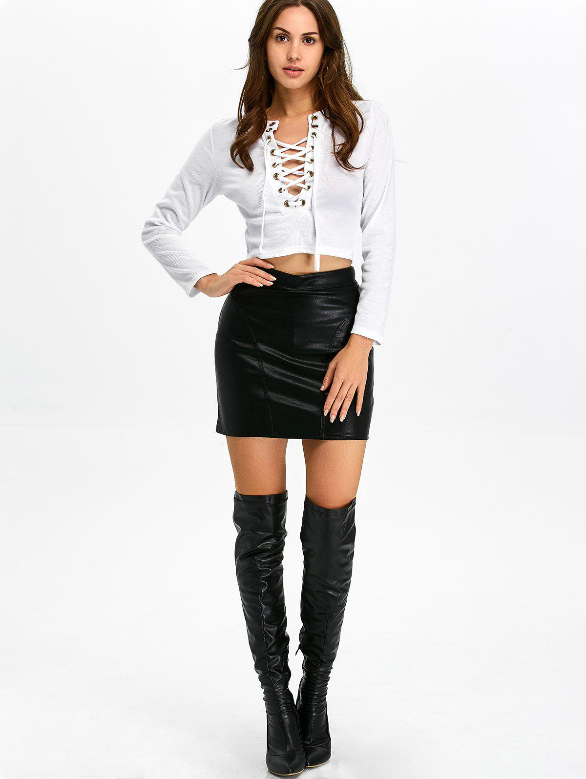 Lace-Up Studded Long Sleeve Crop Top - WHITE XL
