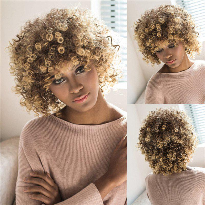 Women's Towheaded Short Afro Curly Mixed Color Side Bang Synthetic Hair Wig - COLORMIX