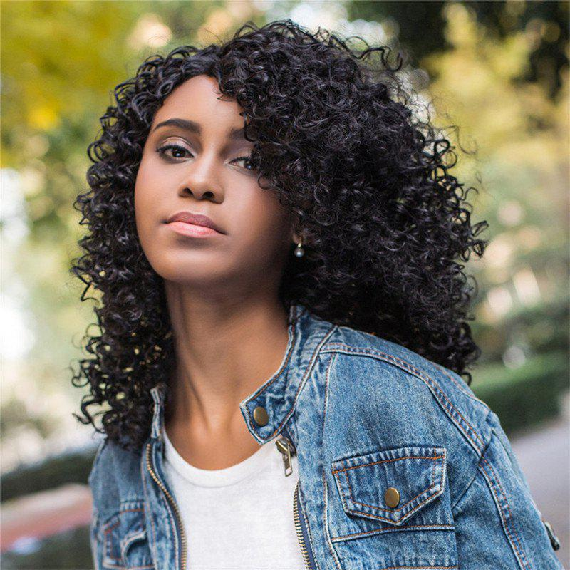 Women's Impressive Medium Side Bang Black Afro Curly Synthetic Hair Wig fashion short afro curly side bang black women s synthetic hair wig