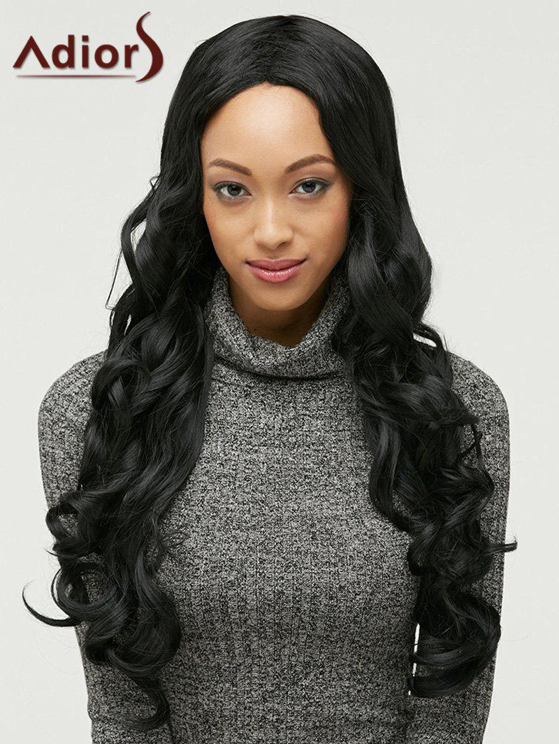Adiors Curly Long Side Bang High Temperature Fiber Wig - BLACK