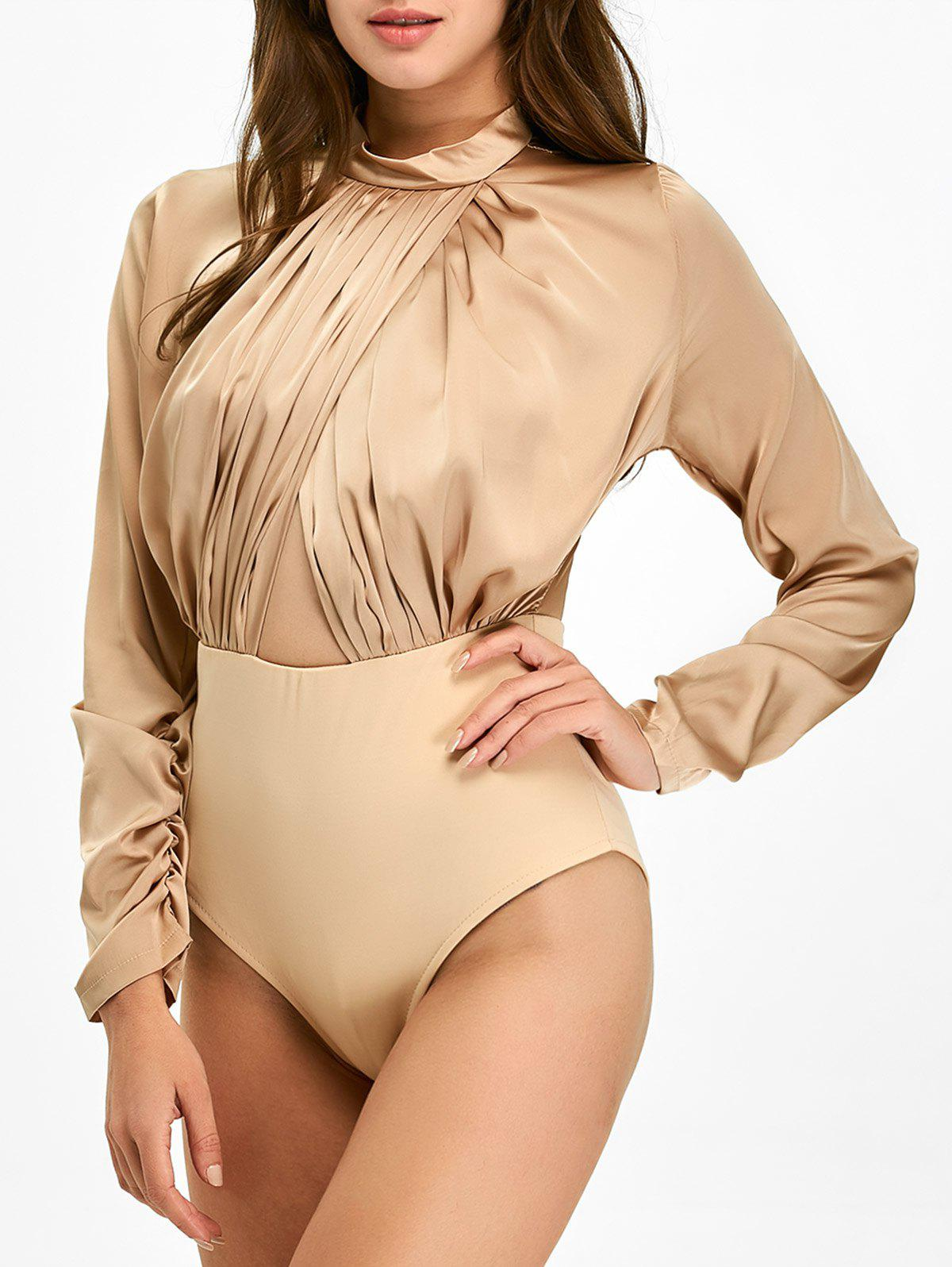 Pleated Cut Out Long Sleeve Bodysuit - BROWN L