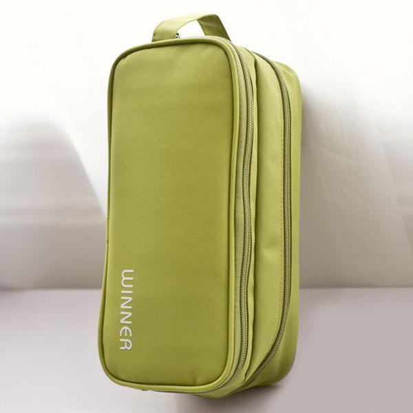 Letter Print Waterproof Cosmetic Bag - GREEN