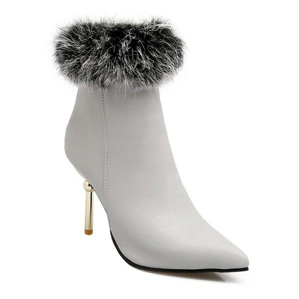 Faux Fur Heeled Ankle Boots - GRAY 38
