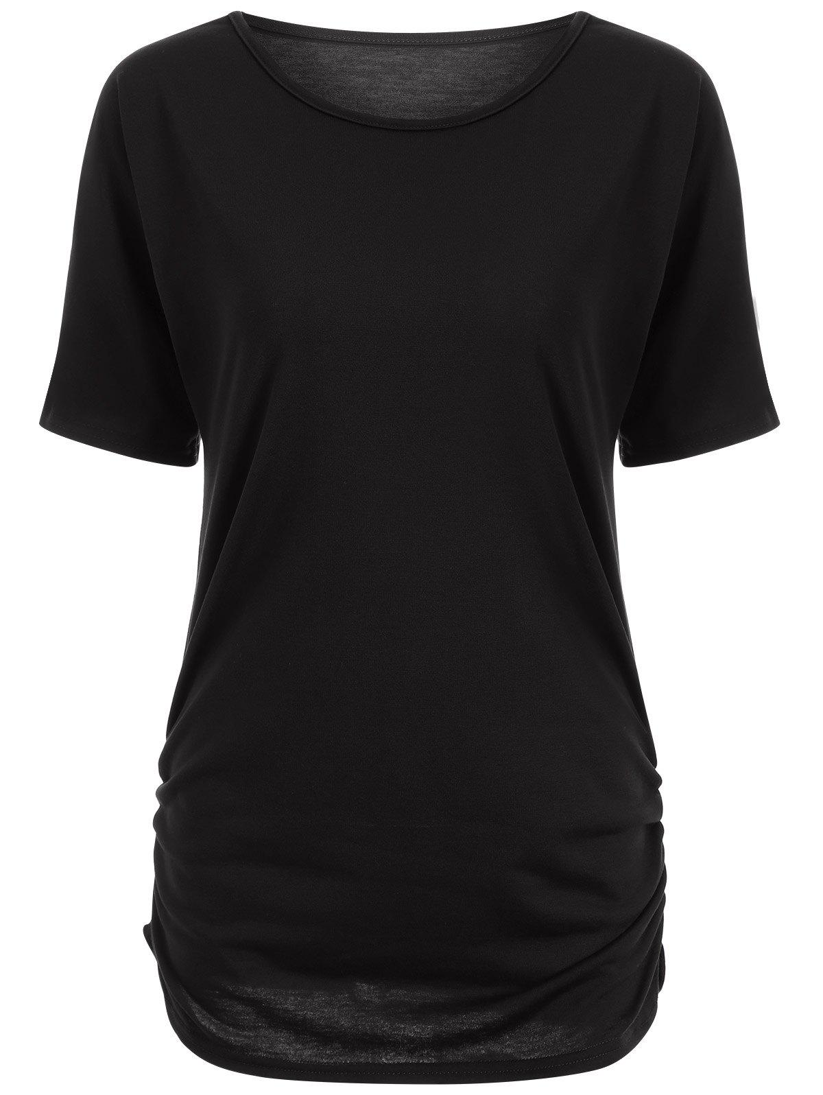 Buy Candy Color Ruched Tee BLACK