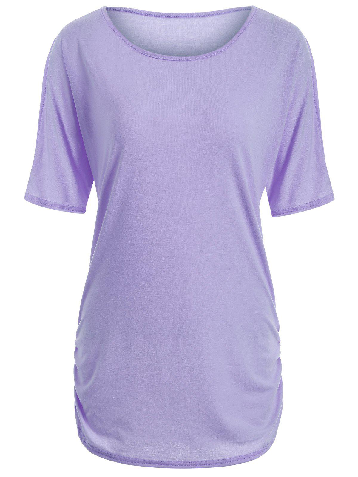 Buy Candy Color Ruched Tee PURPLE
