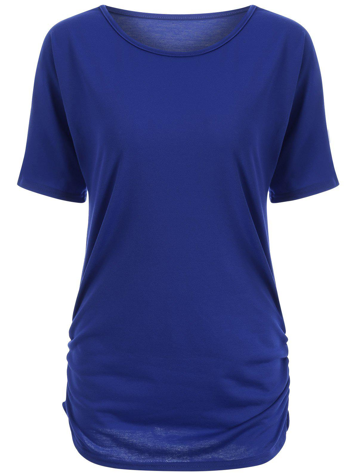 Buy Candy Color Ruched Tee BLUE