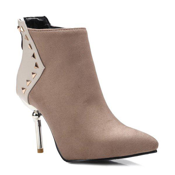 Suede Panel Triangle Rivet Pointed Toe Ankle Boots - KHAKI 37