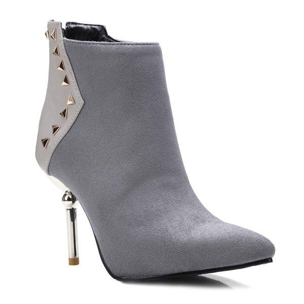 Suede Panel Triangle Rivet Pointed Toe Ankle Boots - GRAY 38