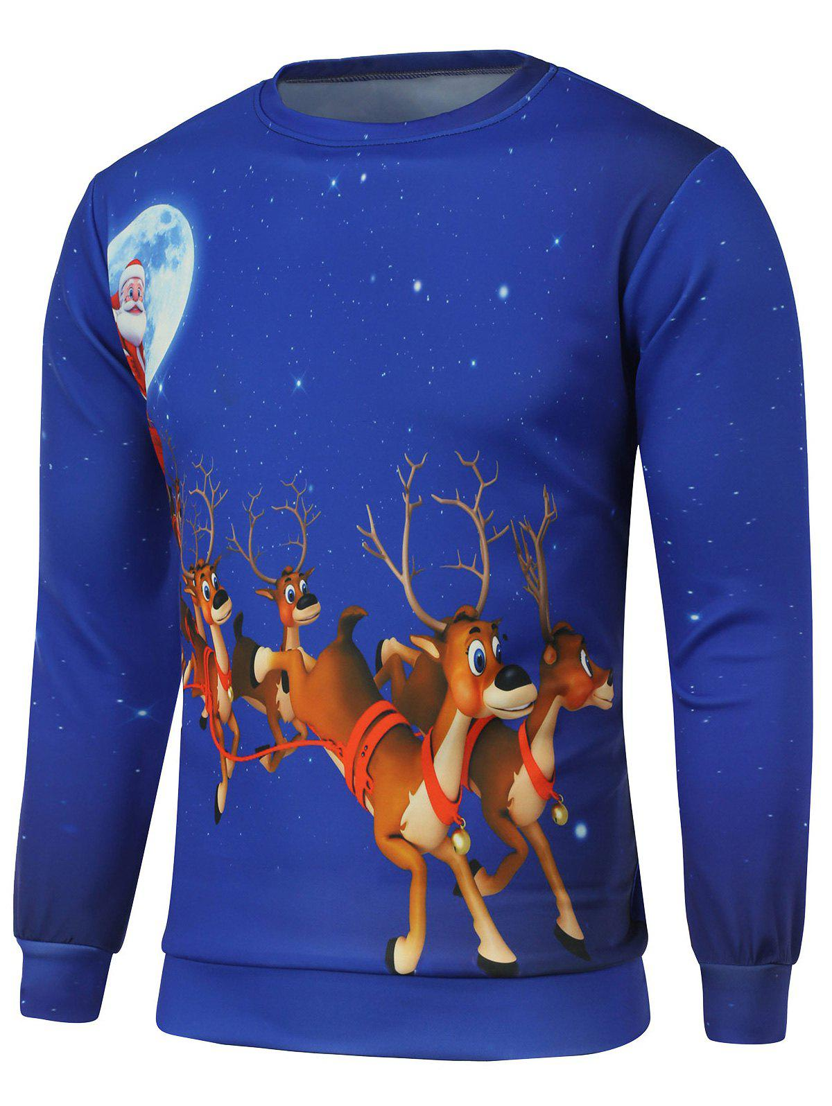 Crew Neck Reindeer Printed Christmas Sweatshirt christmas elk printed crew neck sweatshirt
