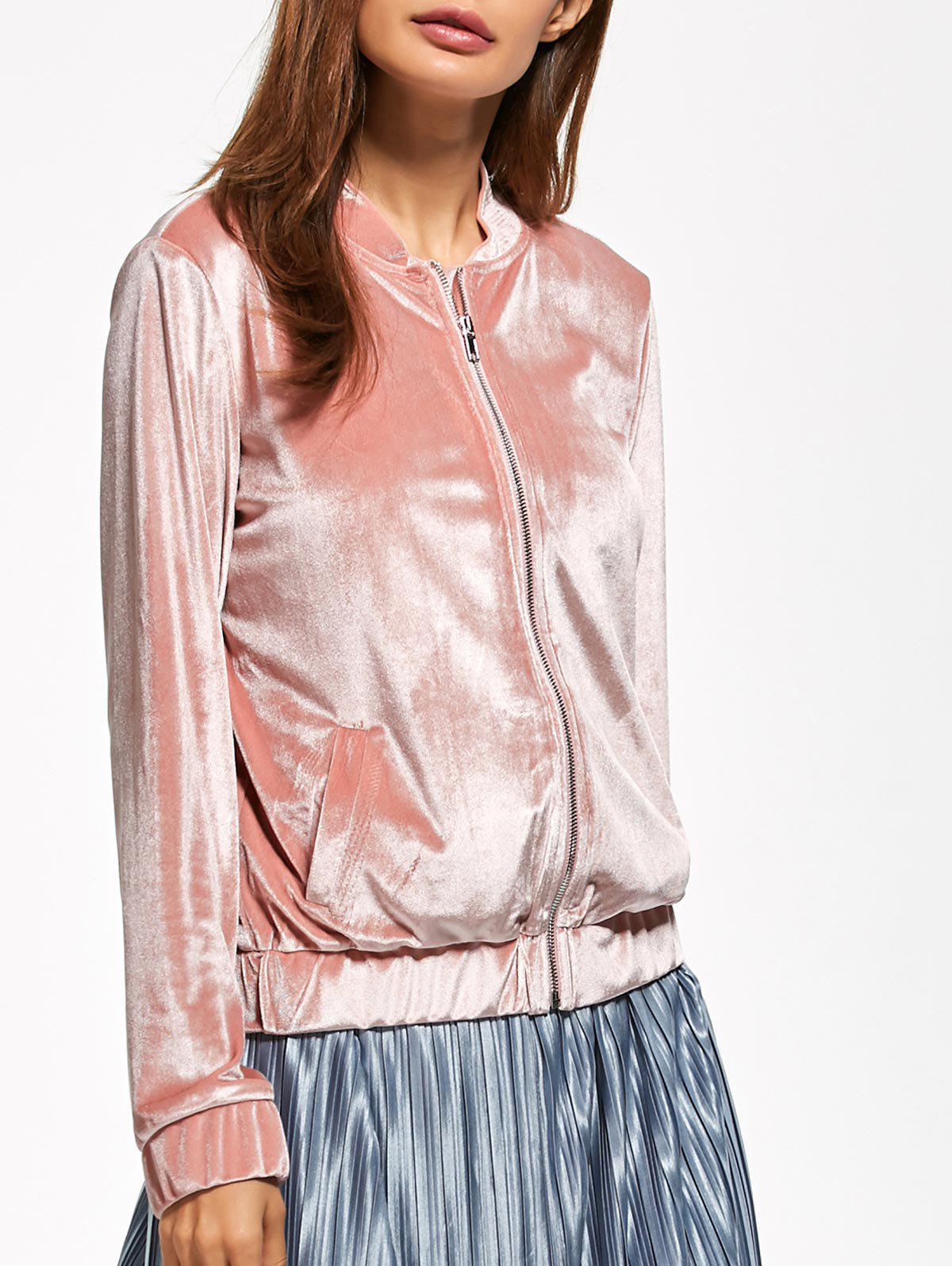 Velvet Zip Up Bomber Jacket - PINK L
