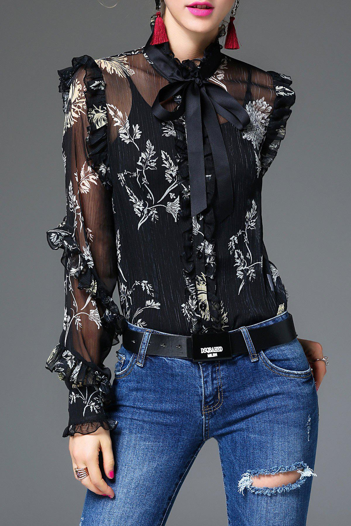 Bow Tie Floral Blouse With Camisole - BLACK L