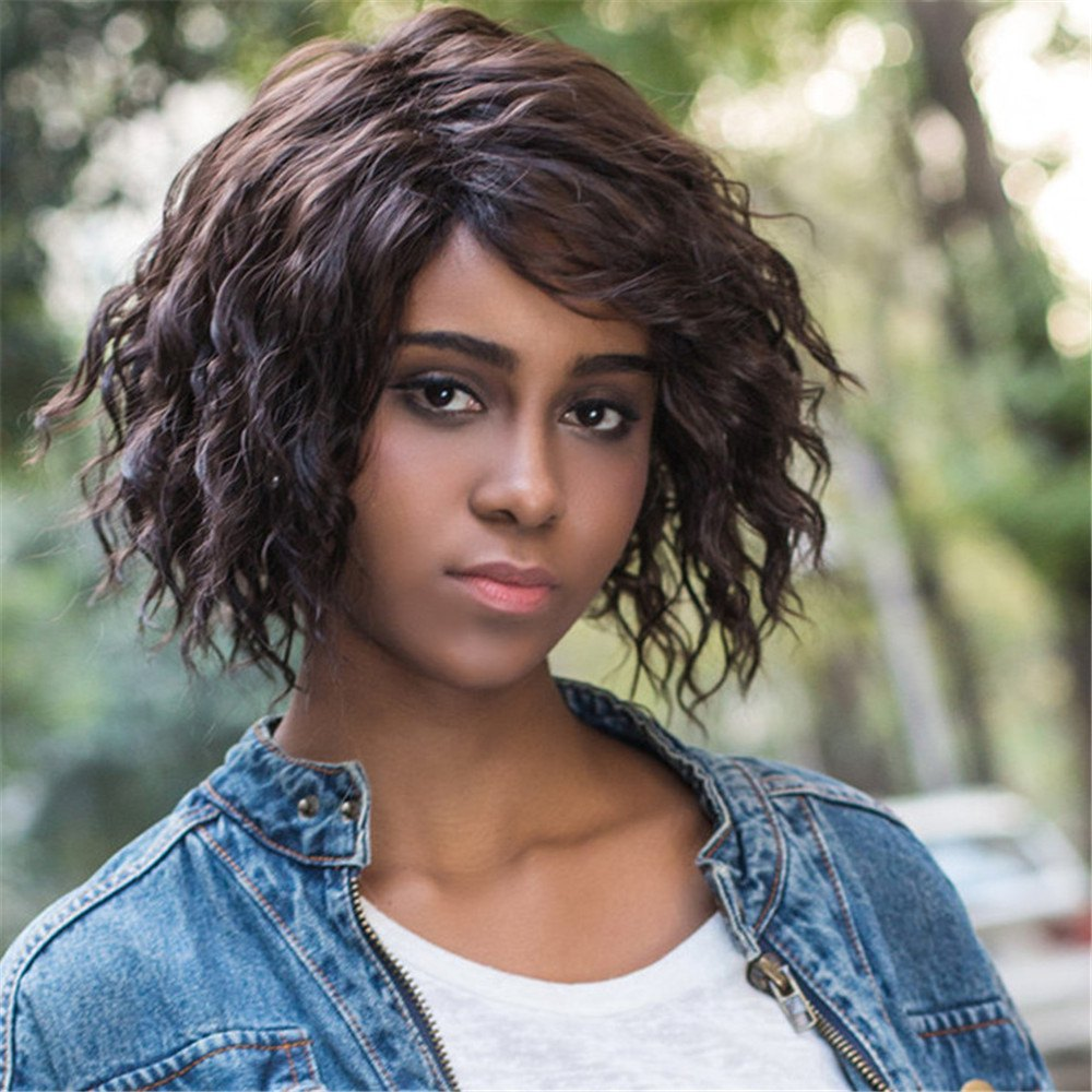 Curly Shaggy Short Side Parting Synthetic Wig curly shaggy short side parting synthetic wig