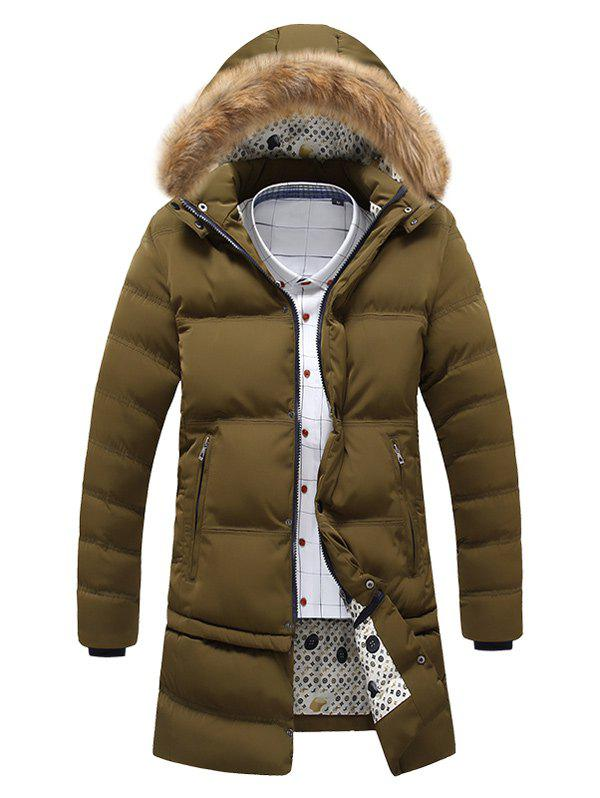 Buy Faux Fur Hooded Zip Pocket Padded Coat ARMY GREEN