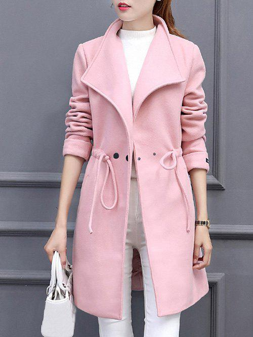 Double Breasted Drawstring Coat - PINK M