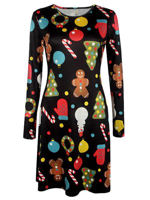 Knee Length Christmas Patterned Dress - BLACK 2XL