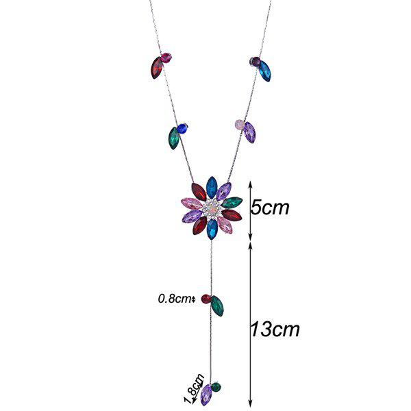 Floral Rhinestone Sweater Chain - RED