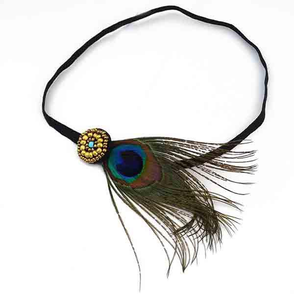 Boho Style Faux Peacock Feather Knitted Headband For Women - COLORMIX