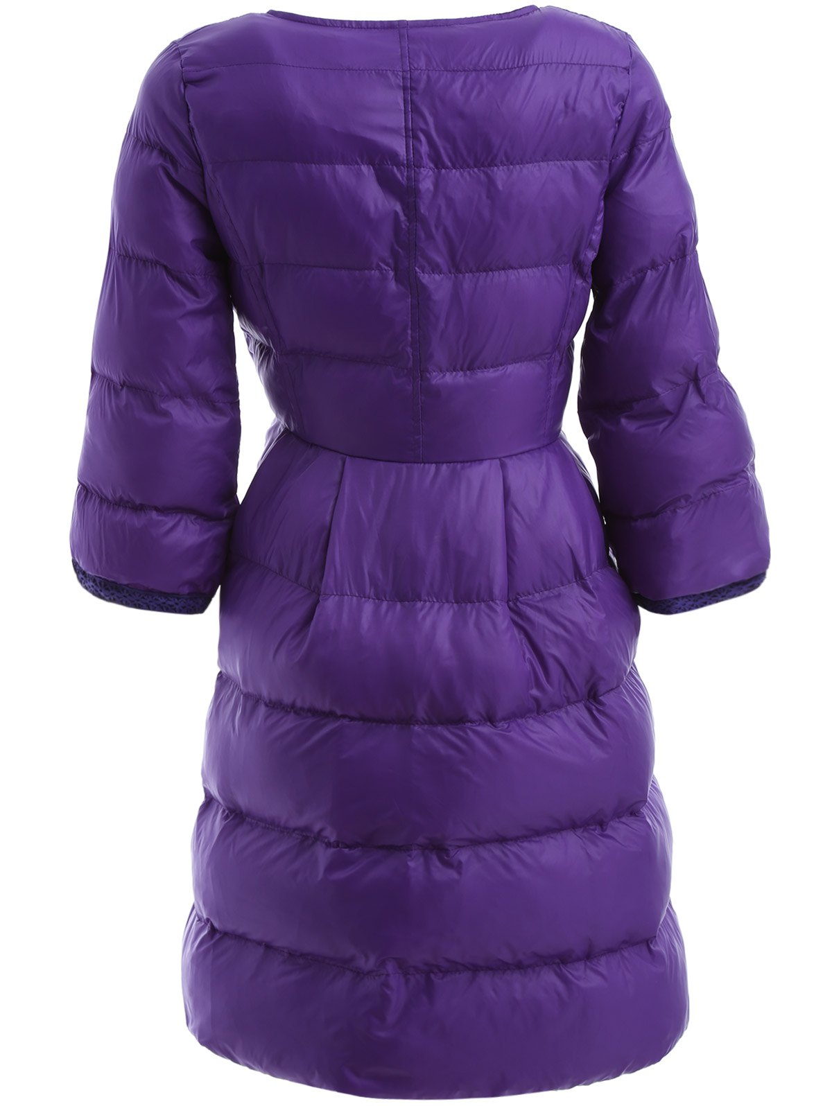 High Waist Single Breasted Long Skirted Quilted Coat - PURPLE L