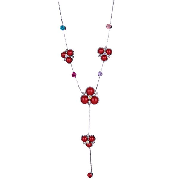 Faux Gemstone strass Pull Chain - Rouge