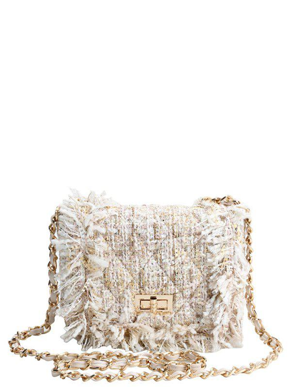 Argyle Twist-Lock Closure Chain Crossbody BagBags<br><br><br>Color: OFF-WHITE