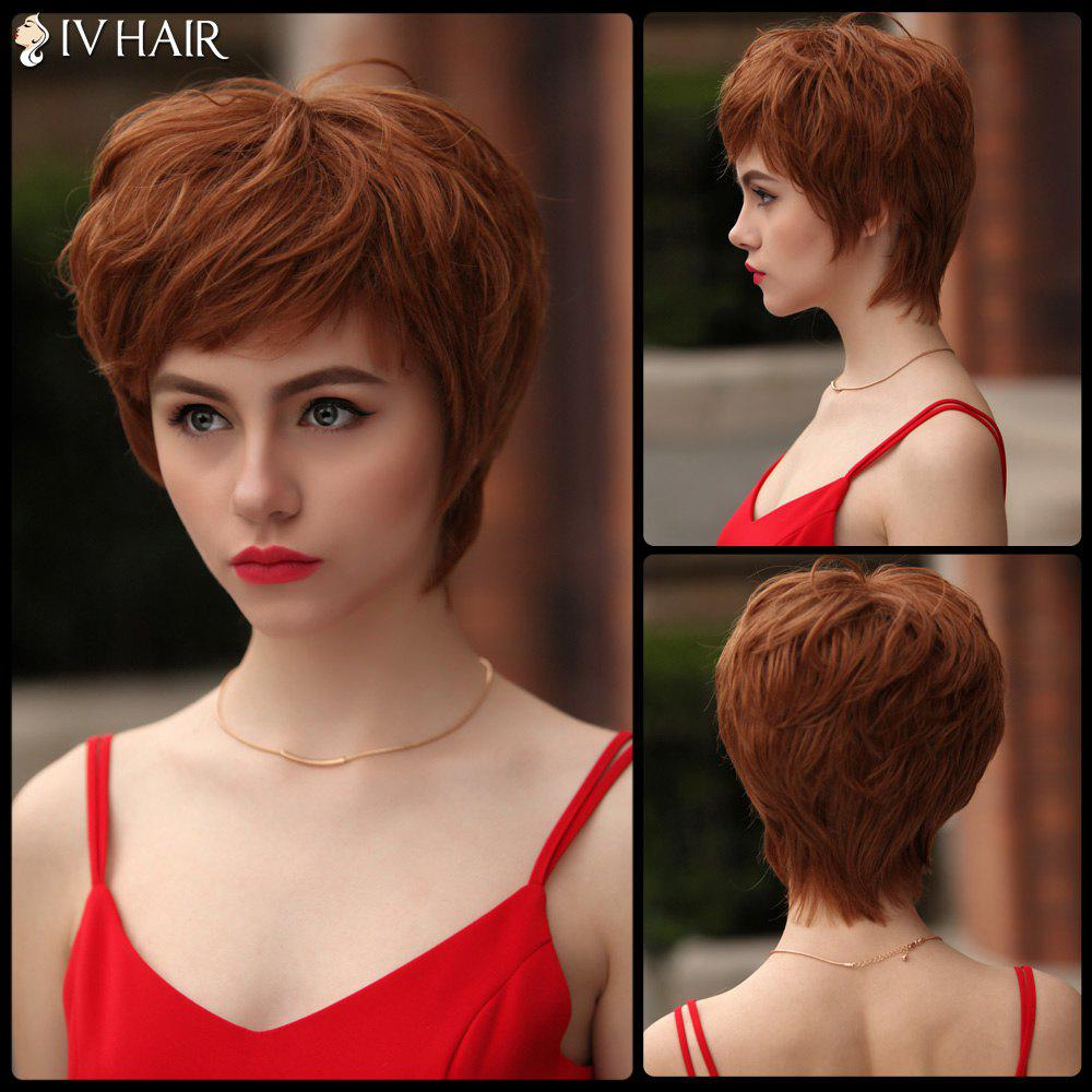Fluffy Short Layered Inclined Bang Glossy Straight Siv Human Hair Wig - AUBURN BROWN