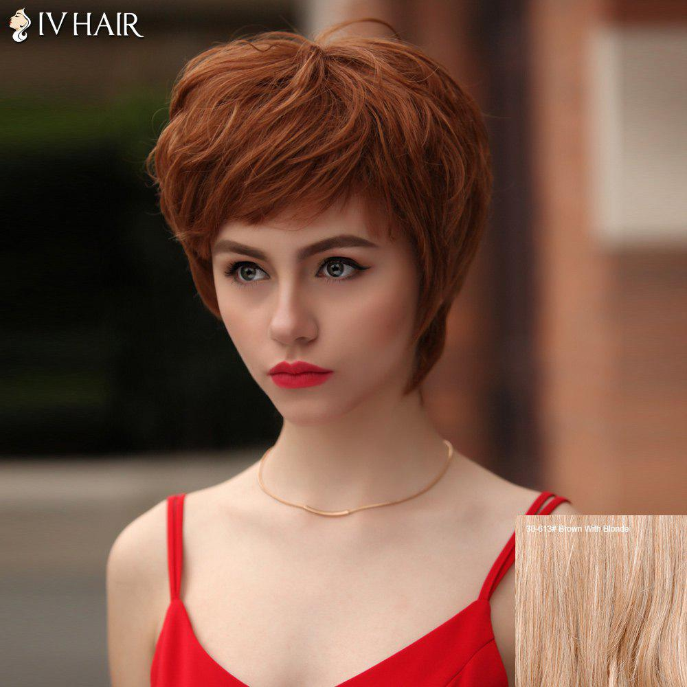 Fluffy Short Layered Inclined Bang Glossy Straight Siv Human Hair Wig - BROWN/BLONDE
