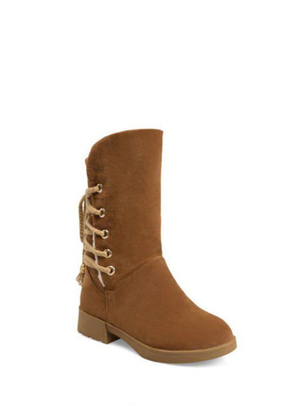 Low Heel Back Lace Up Snow Boots - BROWN 38
