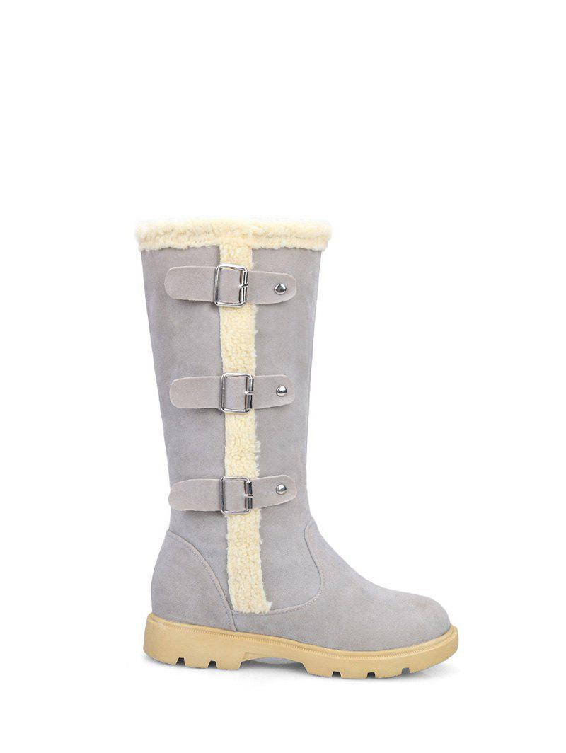 Mid Calf Faux Shearling Panel Boots - GRAY 38