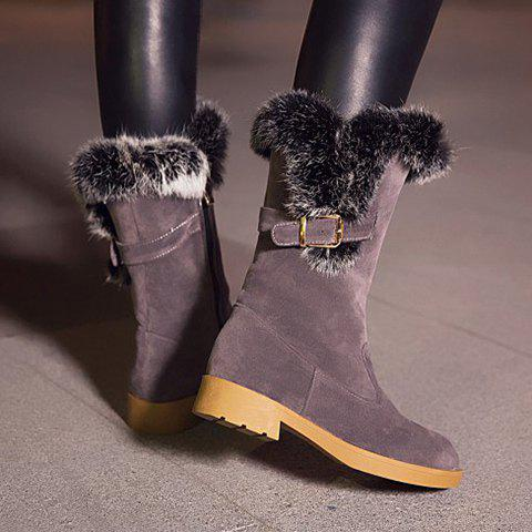 Buckle Strap Faux Fur Insert Snow Boots - GRAY 37