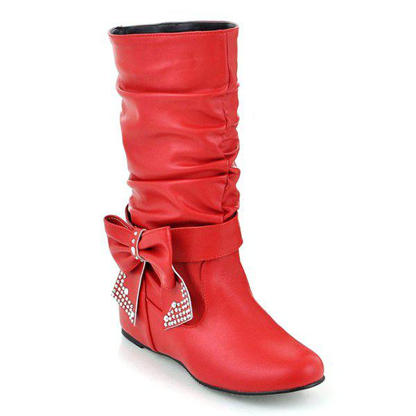 Ruched Bowknot PU Leather Mid Calf Boots - RED 37
