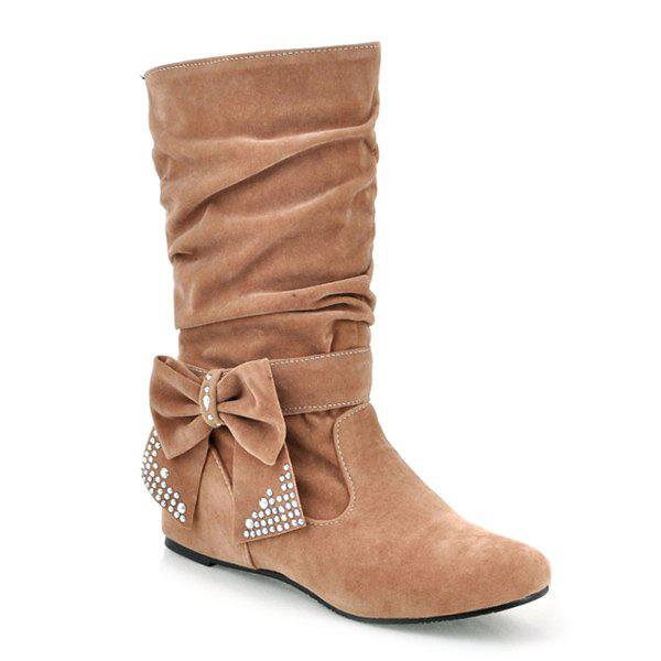 Ruched Bowknot Flock Mid Calf Boots - BROWN 38